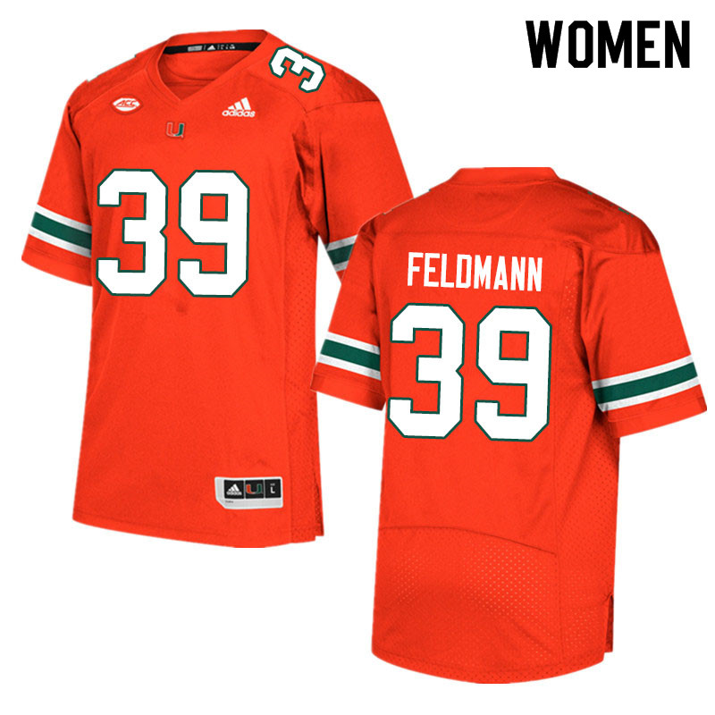 Adidas Miami Hurricanes Women #39 Gannon Feldmann College Football Jerseys Sale-Orange